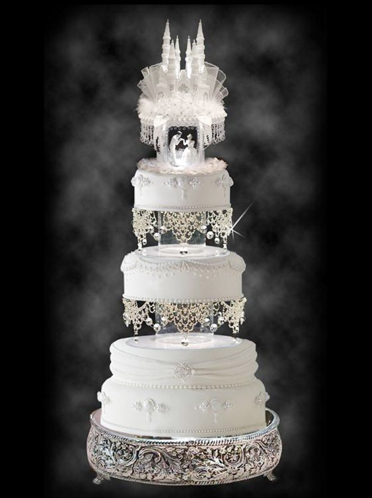 Wedding Cake Topper With Cascading Swarovski Picture in Wedding Cake