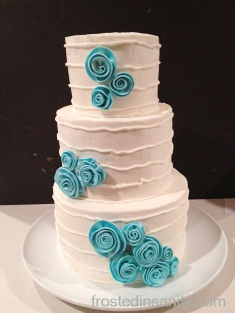 Wedding Cake With Tiffany Blue Accents Picture in Wedding Cake