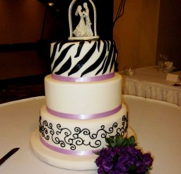 1024x1342px White Zebra Print And Purple Wedding Cake Picture in Wedding Cake