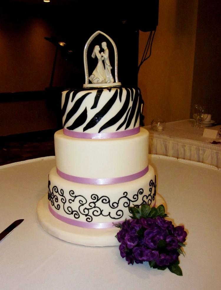 White Zebra Print And Purple Wedding Cake Picture in Wedding Cake