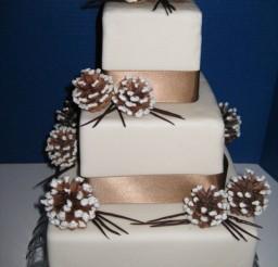 1024x1369px Winter Wonderland Wedding Cake With Chocolate Ribbo Picture in Wedding Cake