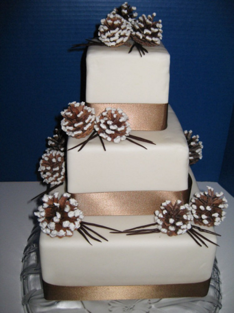 Winter Wonderland Wedding Cake With Chocolate Ribbo Picture in Wedding Cake