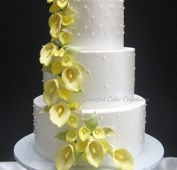 1024x1380px Yellow Calla Lily Wedding Cake Picture in Wedding Cake