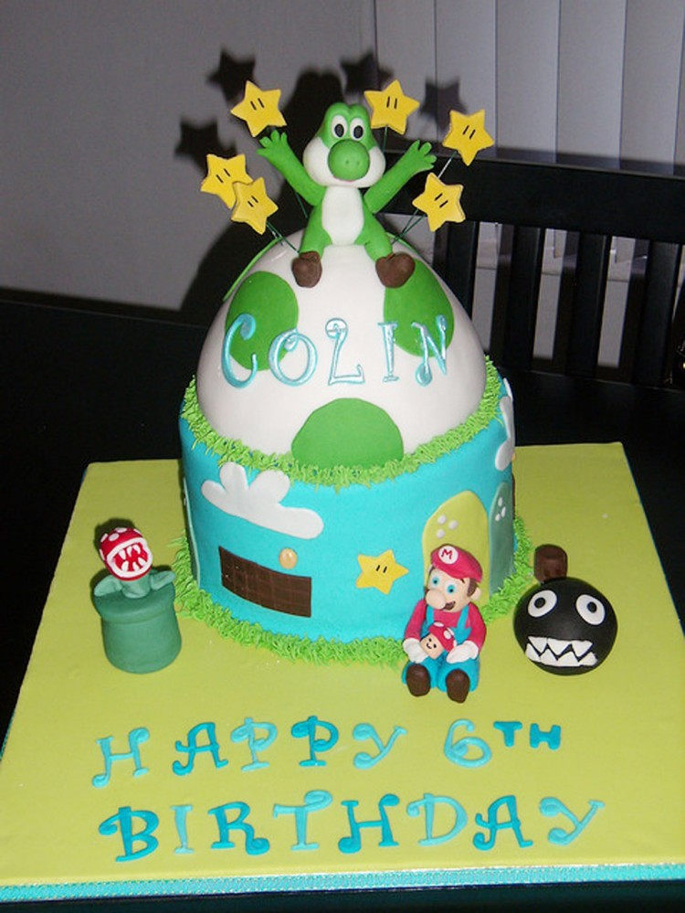 Yoshi Birthday Cake Design Picture in Birthday Cake