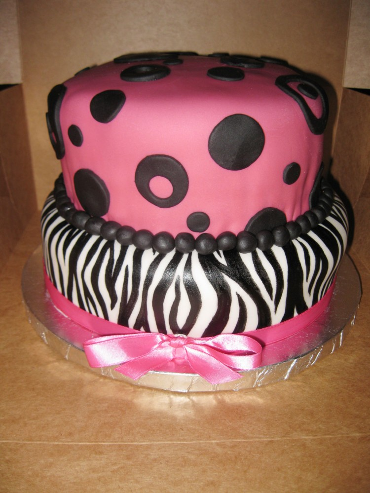 Zebra Print And Dots Birthday Cakes Picture in Birthday Cake
