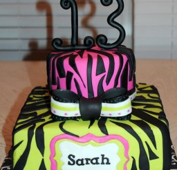1024x1535px Zebra Print 13th Birthday Cake Picture in Birthday Cake