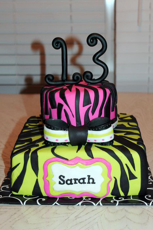 Zebra Print 13th Birthday Cake Birthday Cake