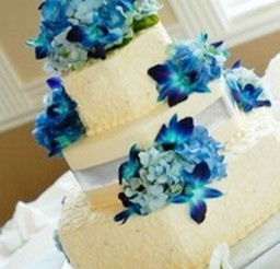 1024x1531px Blue Orchids Wedding Cake Ideas Picture in Wedding Cake