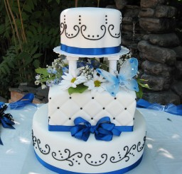 1024x1024px Blue Ribbon Salt Lake Wedding Cake Picture in Wedding Cake