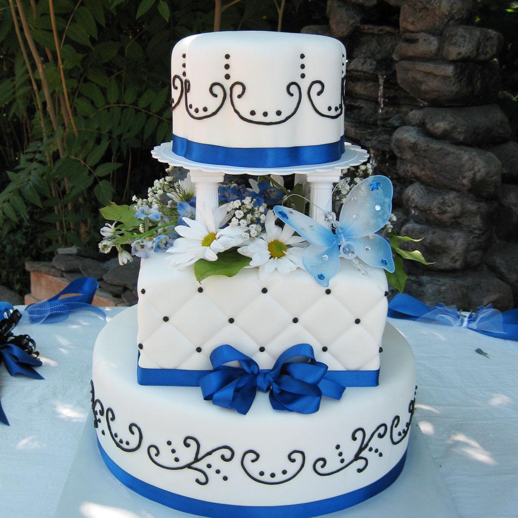 Blue Wedding Cake Ideas: Blue Ribbon Salt Lake Wedding Cake Wedding Cake