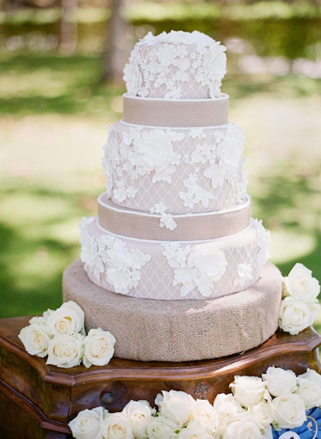 Burlap And Lace Wedding Cakes Wedding Cake - Cake Ideas by Prayface.net