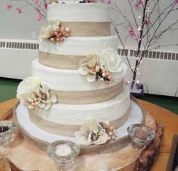 1024x1365px Burlap Ribbon Wedding Cake Picture in Wedding Cake