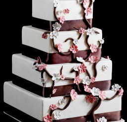 1024x1528px Cherry Blossom Square Wedding Cake Picture in Wedding Cake