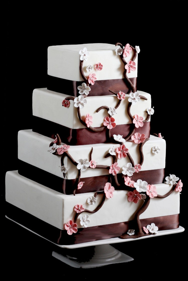 Cherry Blossom Square Wedding Cake Picture in Wedding Cake