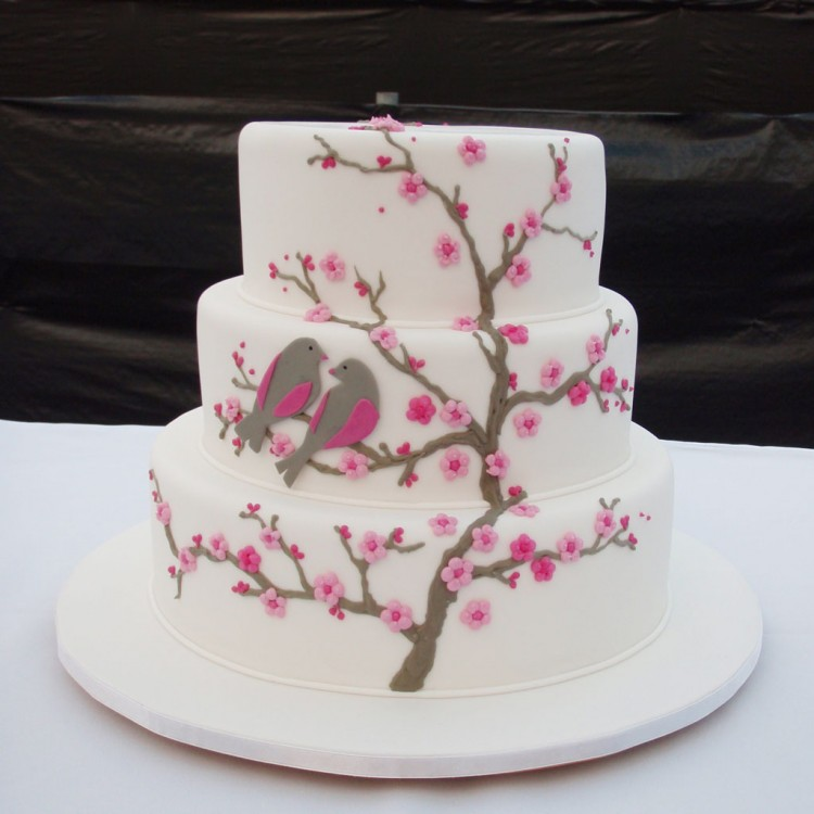 Cherry Blossom Wedding Cake Picture in Wedding Cake