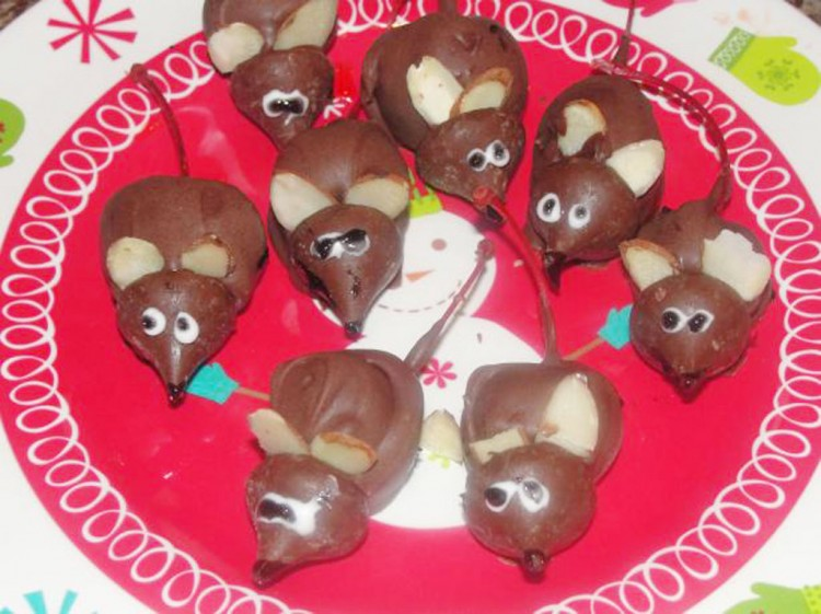 Chocolate Christmas Mice Or Anytime Mice Picture in Chocolate Cake