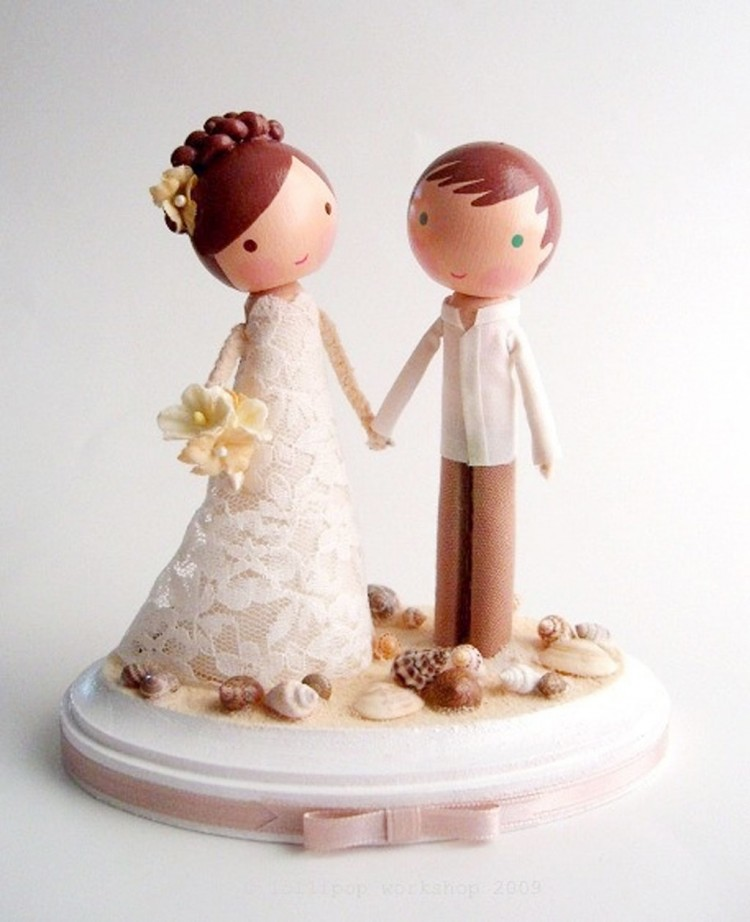 Custom Beach Wedding Cake Topper Picture in Wedding Cake