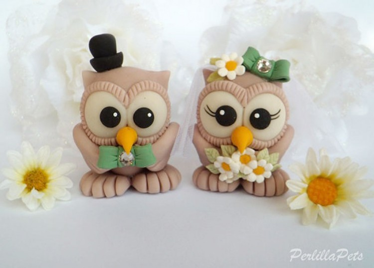 Cute Owl Wedding Cake Toppers Picture in Wedding Cake