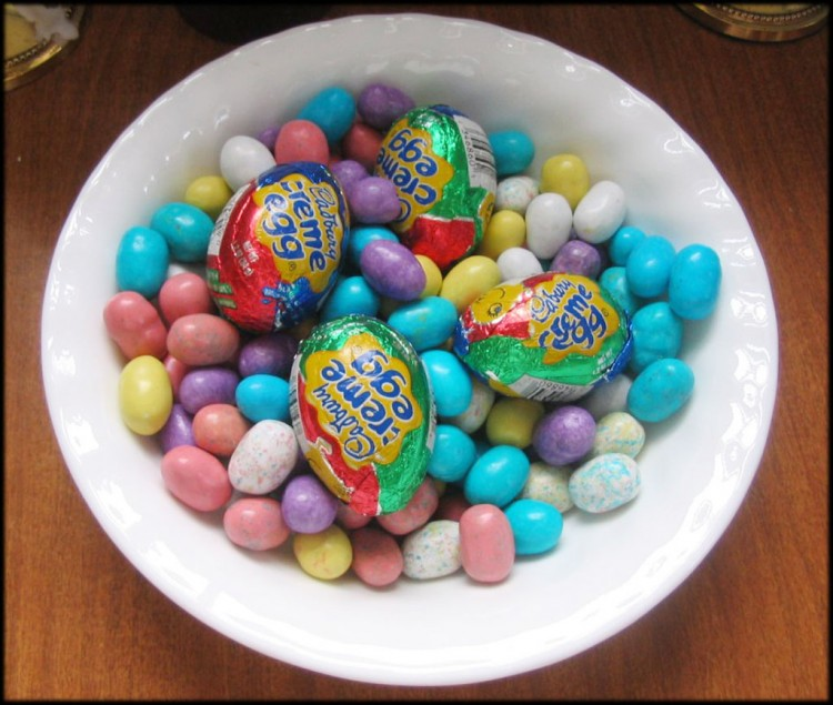 Easter Chocolate Candy Eggs Picture in Chocolate Cake