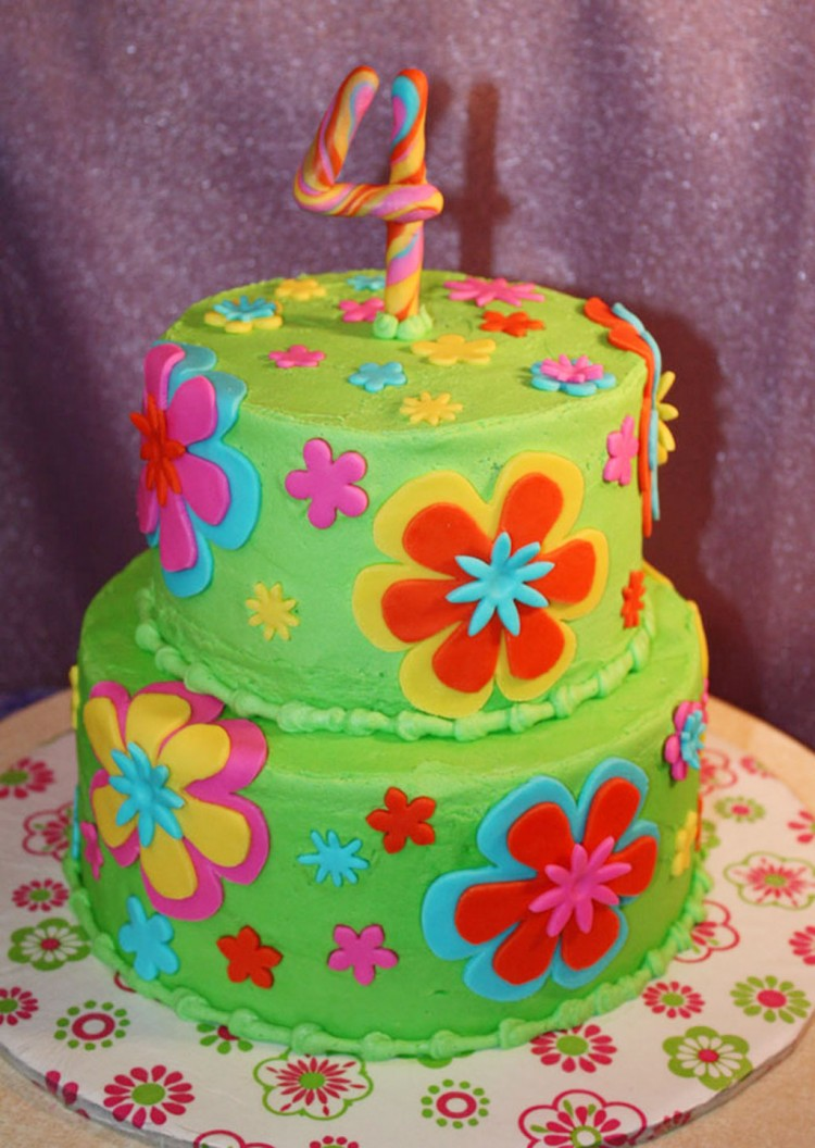 Fondant Flowers Birthday Cakes Picture in Birthday Cake