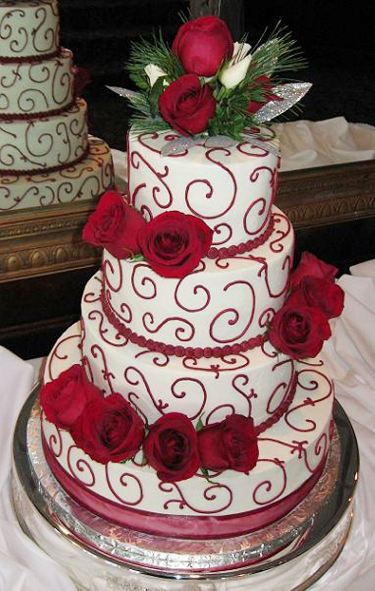 Four Tiers Christmas Wedding Cake Picture in Wedding Cake