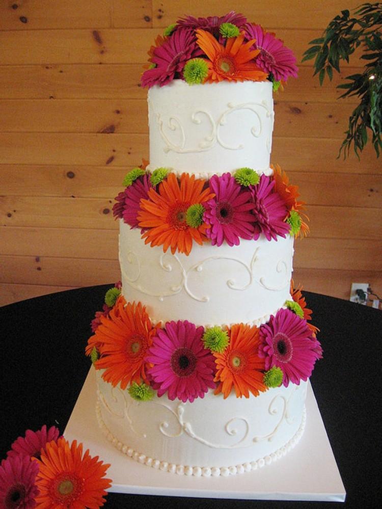 Gerber Daisy Wedding Cake Designs Picture in Wedding Cake