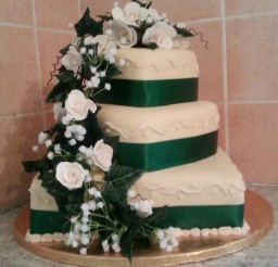 1024x1138px Green Light Champagne Themed Wedding Cake Picture in Wedding Cake