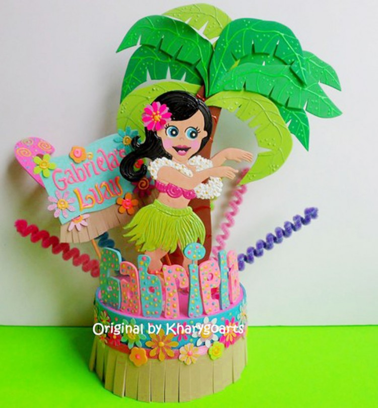 Hula Hawaiian Birthday Cake Topper Picture in Birthday Cake