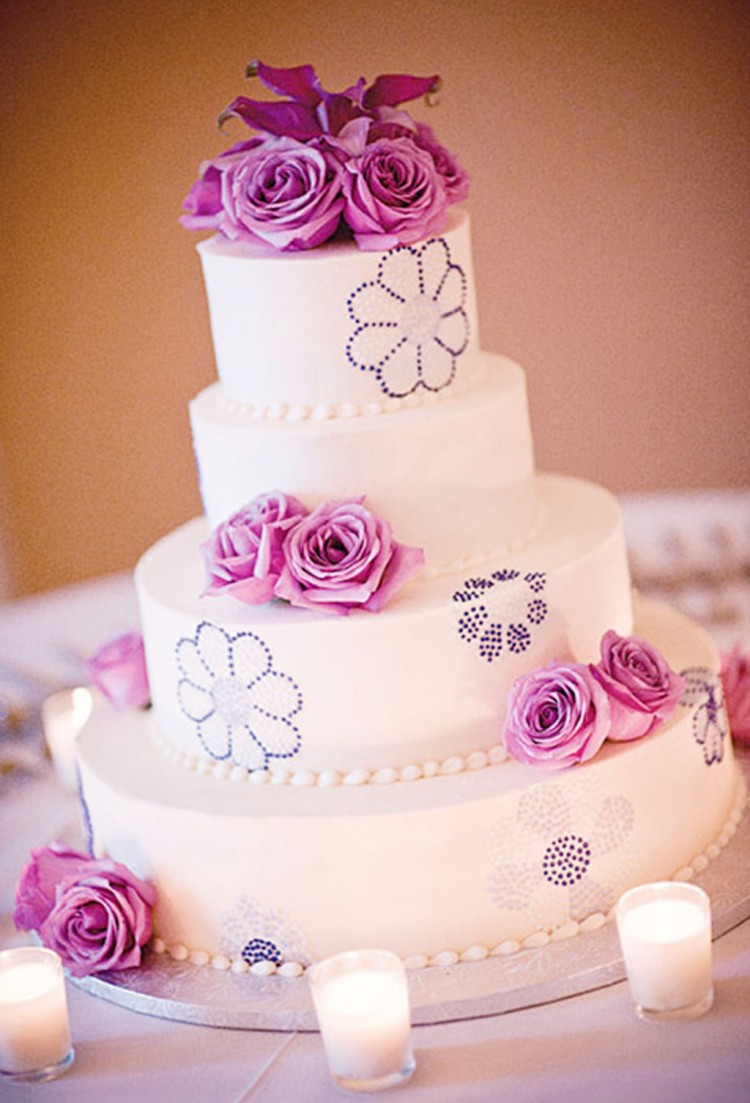 Lavender Frosted Wedding Cake Picture in Wedding Cake