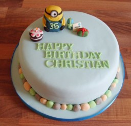 1024x768px Minion Icing Figure With Birthday Picture in Birthday Cake