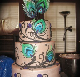 1024x1365px Peacock Feather Wedding Decorating Picture in Wedding Cake