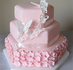 1024x1207px Pink Butterfly Wedding Cake Picture in Wedding Cake
