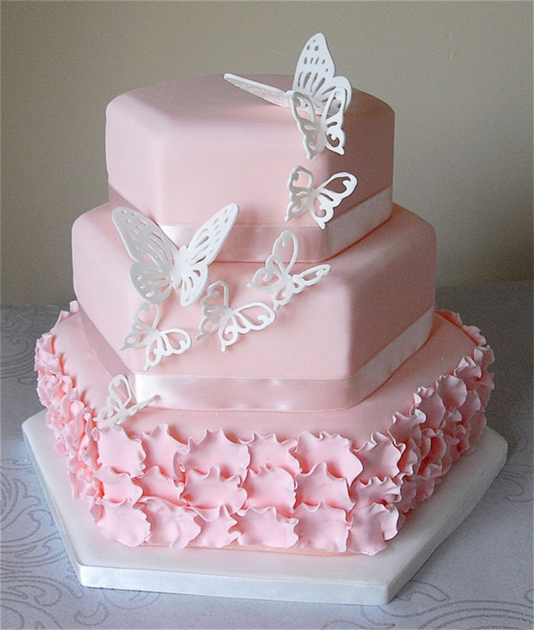 Pink Butterfly Wedding Cake Picture in Wedding Cake
