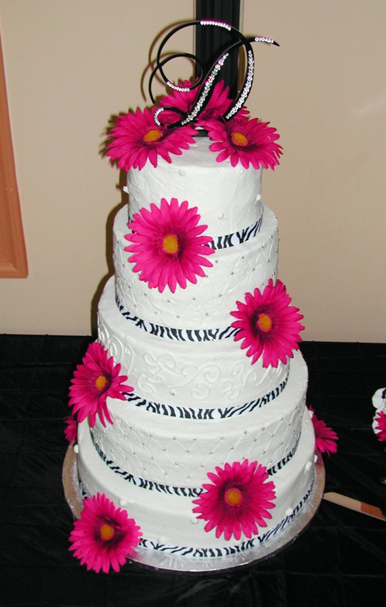 Pink And Zebra Print Wedding Cakes Picture in Wedding Cake