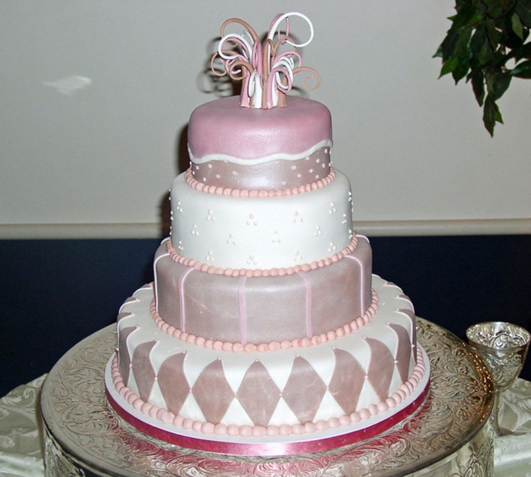 Pink Whimsical Richmond VA Wedding Cake Design Picture in Wedding Cake