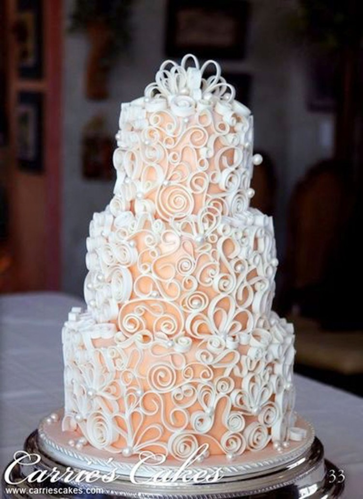 Pretty Write Ribbons Wedding Cakes Picture in Wedding Cake