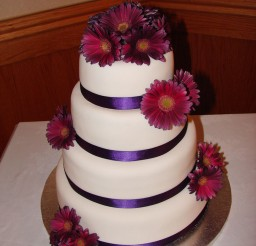 1024x1365px Purpel Gerber Daisy Wedding Cake Picture in Wedding Cake