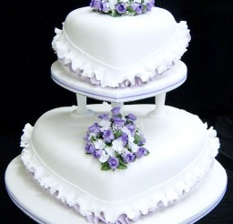 1024x1293px Purple Flower Heart Wedding Cake Picture in Wedding Cake