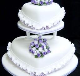 1024x1293px Purple Flower Heart Wedding Cake Picture in Wedding Cake