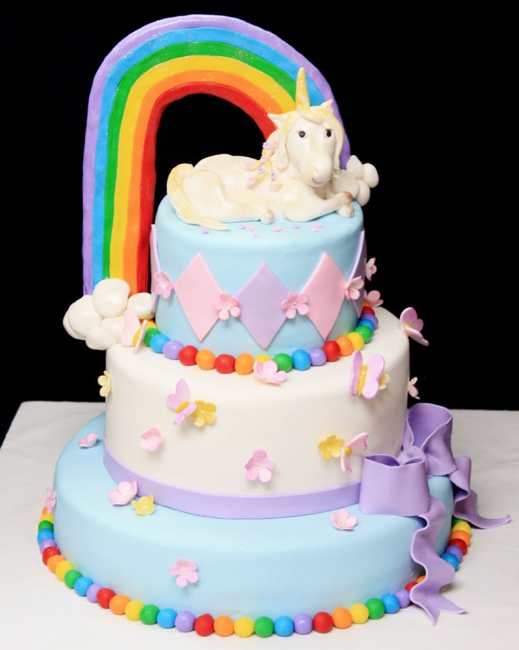Rainbow Unicorn Cake For Girl Birthday Picture in Birthday Cake