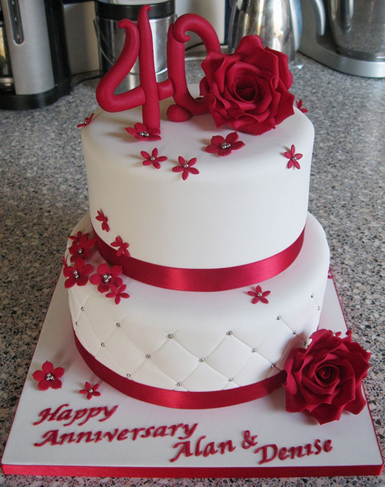 Red 40th Wedding Cakes Toppers Picture in Wedding Cake