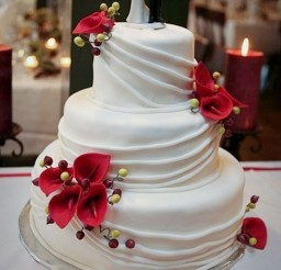 1024x1535px Red Calla Lily Wedding  Cake Design 2 Picture in Wedding Cake