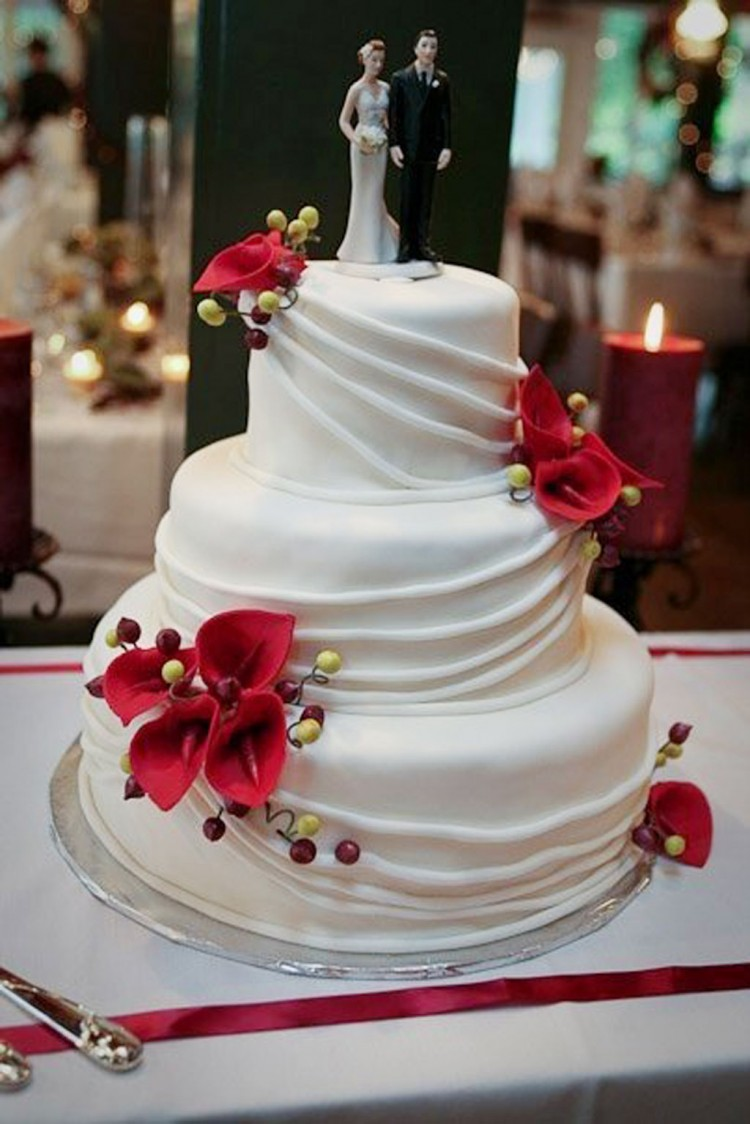 Red Calla Lily Wedding  Cake Design 2 Picture in Wedding Cake