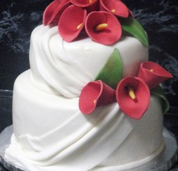 1024x1347px Red Calla Lily Wedding  Cake Design 3 Picture in Wedding Cake