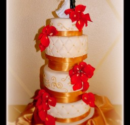 1024x1532px Red Calla Lily Wedding Cake Design 5 Picture in Wedding Cake
