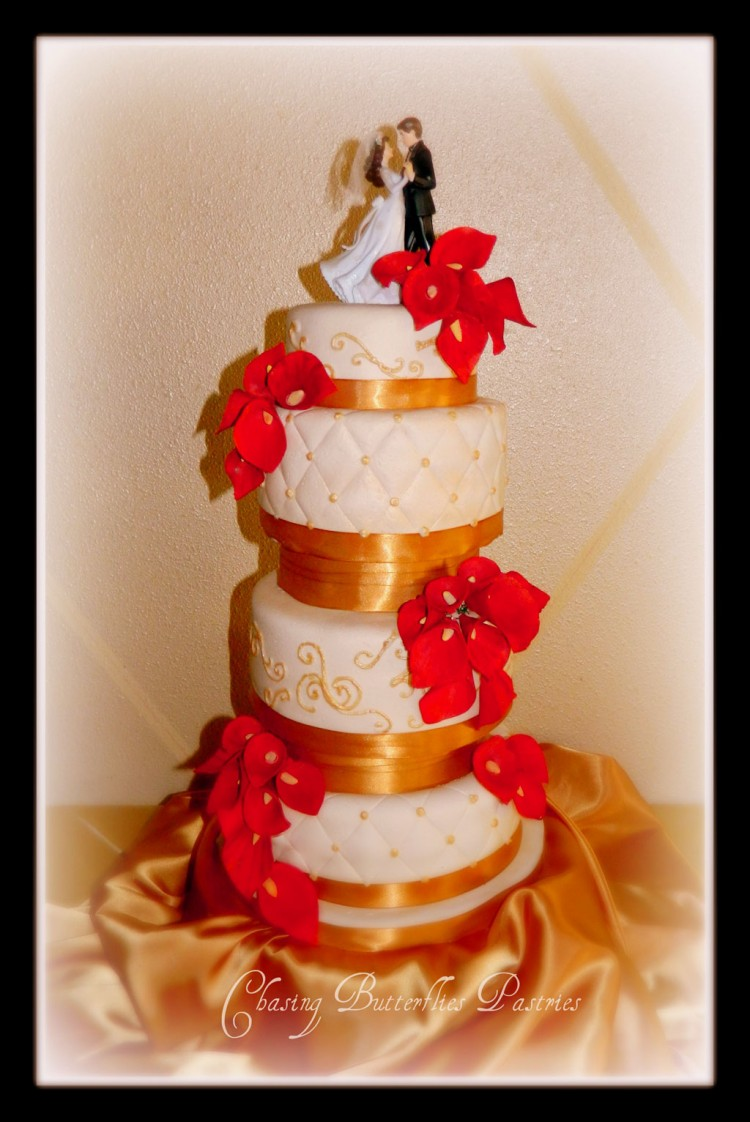 Red Calla Lily Wedding Cake Design 5 Picture in Wedding Cake