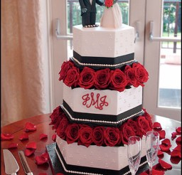 1024x1421px Red Flowers Wedding Cakes Raleigh Nc Picture in Wedding Cake