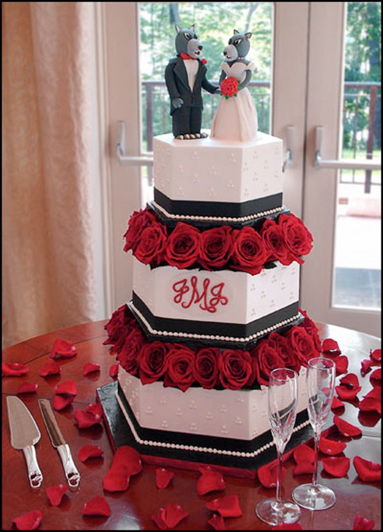 Red Flowers Wedding Cakes Raleigh Nc Picture in Wedding Cake