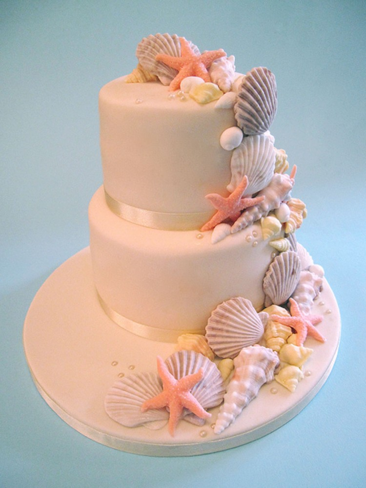 Seashell Wedding Cakes Decoratiion Picture in Wedding Cake