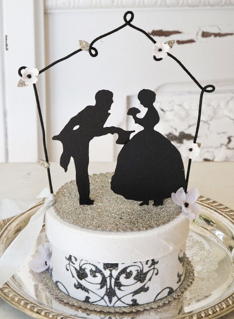 Silhouette Cakes Topper For Wedding Picture in Wedding Cake